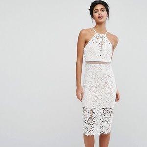 Love Triangle Lace Midi Dress (white/ size 4)